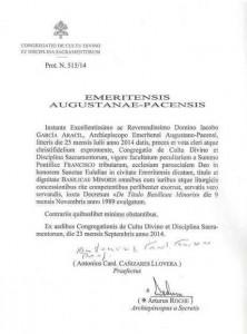 Decreto Basilica Santa Eulalia