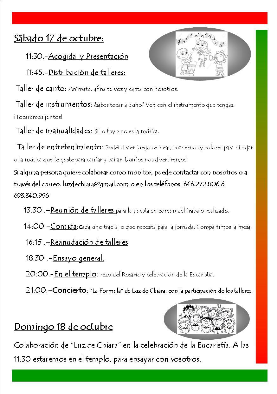 Jornada en familia+concierto Luz de Chiara (Parroquia Espíritu Santo ...