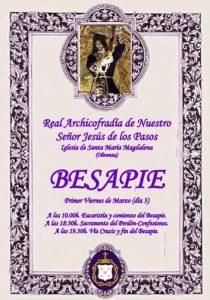 Besapie Real Archicofradía de Nuestro Señor Jesús de los Pasos, en la iglesia de Santa María Magdalena (Olivenza)