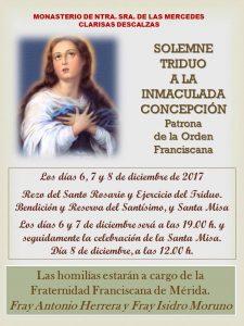 Triduo a la Inmaculada Concepción (Monasterio Clarisas Descalzas -Badajoz-)