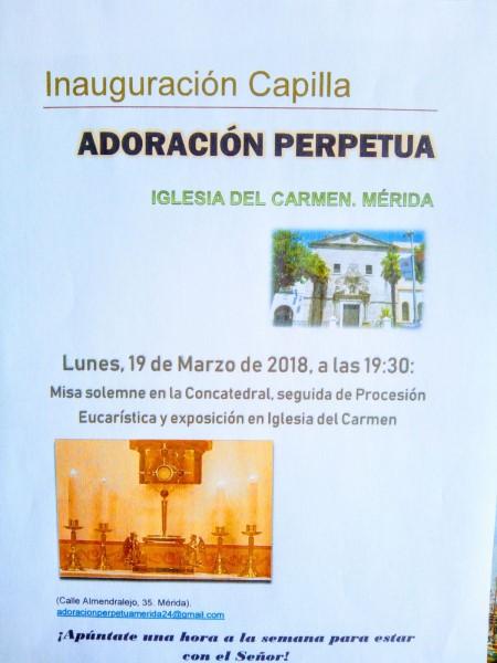 Inauguración Adoración Perpetua (Iglesia del Carmen -Mérida)
