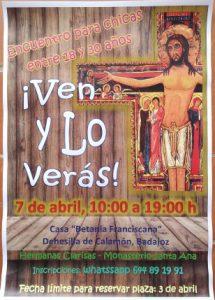 """Encuentro para chicas (Casa """"Betania Franciscana"""" -Dehesilla de Calamón, Badajoz-)"""