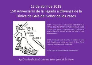 150 aniversario llegada a Olivenza de la Túnica de Gala del Señor de los Pasos