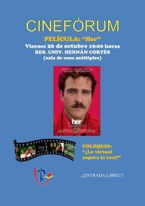 """Cinefórum """"Her"""" (R. U. Hernán Cortés -Badajoz-)"""