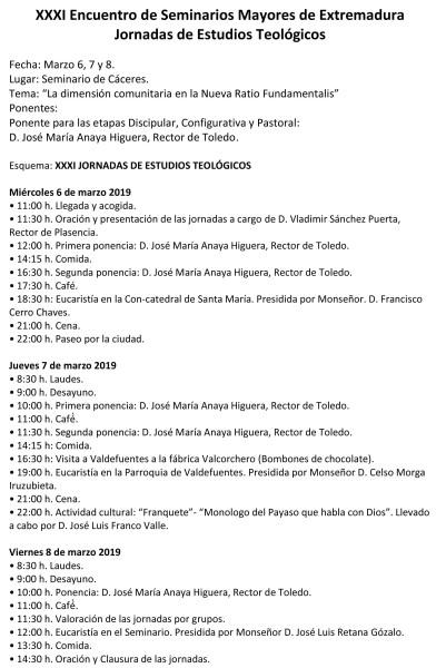Encuentro Teológico de los Seminarios de la Provincia eclesiástica (Seminario de Cáceres)