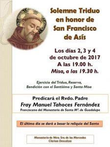 Solemne triduo en honor de S. Francisco de Asís en Badajoz @ Monasterio Ntra. Sra de las Mercedes Clarisas descalzas | Badajoz | Extremadura | España