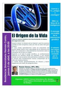"""Conferencia """"El origen de la vida"""" (R. U. Hernán Cortes -Badajoz-)"""