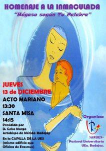 Homenaje a la Inmaculada (Capilla de la UEx, campus de Badajoz)