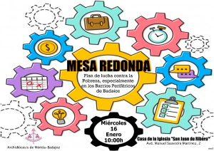 """Mesa redonda """"Plan de lucha contra la Pobreza"""" (Casa de la Iglesia -Badajoz-)"""