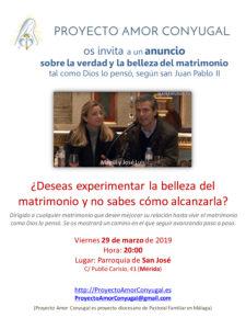 "Anuncio Proyecto ""Amor conyugal"" (Parroquia San José -Mérida-)"