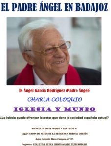 Charla-coloquio Padre Ángel (Residencia Hernán Cortés -Badajoz-)