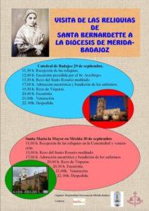 Reliquias de santa Bernardette (Badajoz y Mérida)