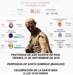 Eucaristía festividad san Vicente de Paúl (Parroquia Santo Domingo -Badajoz-)