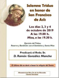 Triduo en honor de San Francisco de Asís (Monasterio de Ntra. Sra. de las Mercedes, clarisas descalzas -Badajoz-)