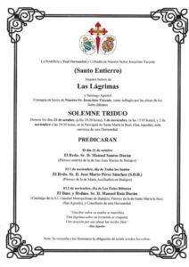 Triduo como sufragio por las almas de los fieles difuntos (Parroquia Santa Mª la Real -Badajoz-)