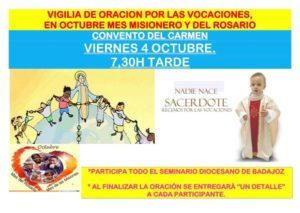 Vigilia de oración por las vocaciones (Convento del Carmen -Fuente de Cantos-)