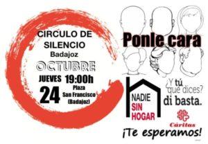 """Círculo de silencio """"Personas Sin Hogar"""" (Plaza San Francisco -Badajoz-)"""