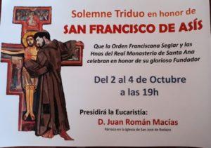 Triduo san Francisco de Asís (Monasterio de Santa Ana -Badajoz-)
