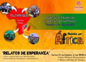 Conferencia sobre proyecto de Mozambique en Cáritas (Salón de actos del Colegio de Farmacéuticos -Badajoz-)