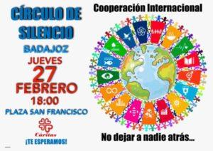 """Círculo de silencio """"Cooperación internacional"""" (Plaza de San Francisco -Badajoz-)"""