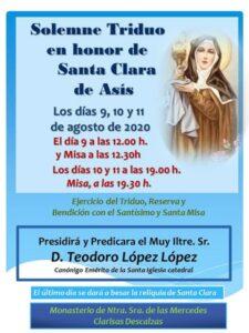 Triduo en honor de santa Clara de Asís (Monasterio Ntra. Sra. de las Mercedes -Badajoz-)