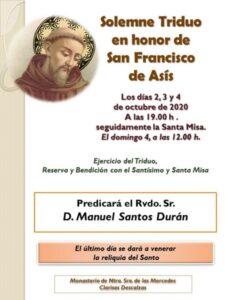Triduo a san Francisco de Asís (Templo Monasterio Clarisas Descalzas -Badajoz-)