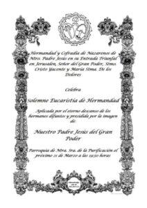 Eucaristía de Hermandad Jesús del Gran Poder (Parroquia Ntra. Sra. de la Purificación -Almendralejo-)