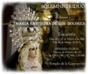 Triduo a Mª Santísima de los Dolores (Templo de la Concepción -Badajoz-)