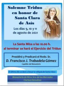 Triduo a Santa Clara de Asís (Templo Clarisas Descalzas -Badajoz-)